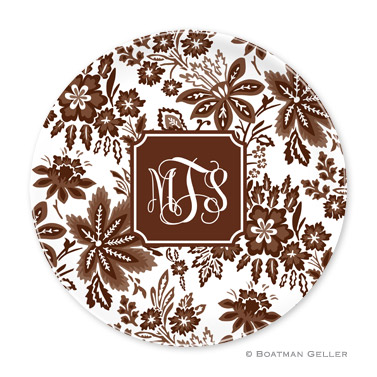 Classic Floral Brown Personalized Plate Personalized by Boatman Geller