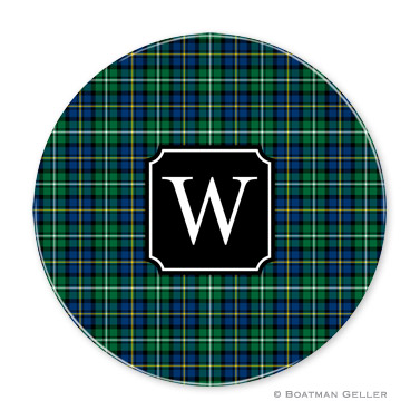 Black Watch Plaid Holiday Plate Personalized by Boatman Geller