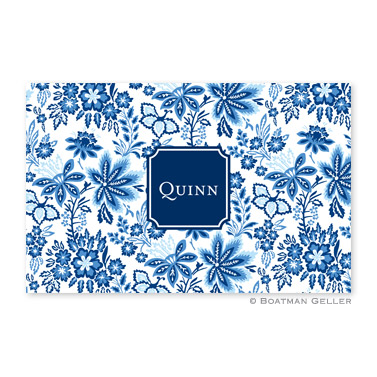 Classic Floral Blue Personalized Placemat