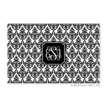 Madison Damask White with Black Personalized Placemat