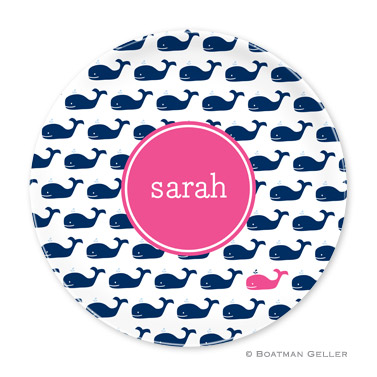 Whale Repeat Navy Personalized Plate