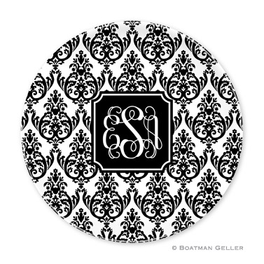 Madison Damask White with Black Personalized Plate
