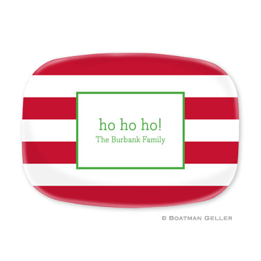 Awning Red and White Stripe Platter