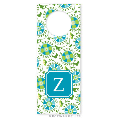 Suzani Teal Wine Tags - qty 8