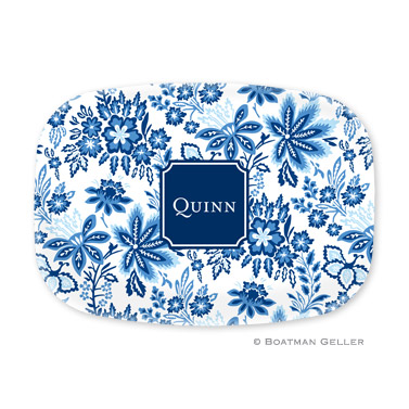 Classic Floral Blue Personalized Platter