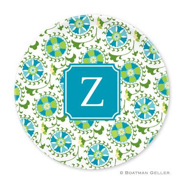 Suzani Teal Personalized Plate