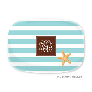 Stripe Starfish Personalized Platter
