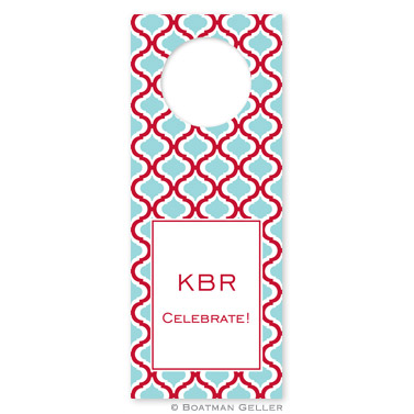 Kate Red & Teal Wine Tags - qty 8