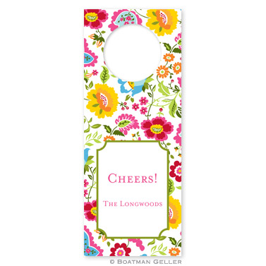 Bright Floral Wine Tags - qty 8