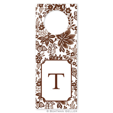 Classic Floral Brown Wine Tags - qty 8