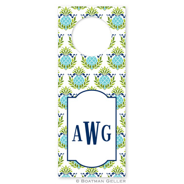 Pineapple Repeat Teal Wine Tags - qty 8
