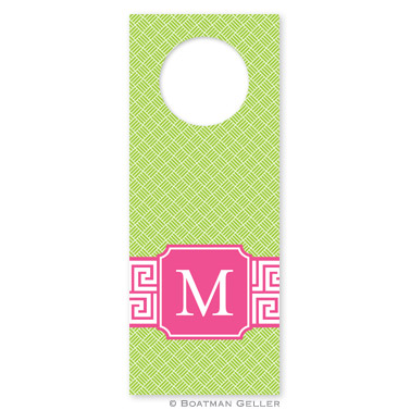 Greek Key Band Pink Wine Tags - qty 8