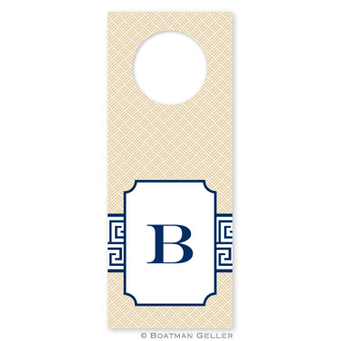 Greek Key Band Navy Wine Tags - qty 8