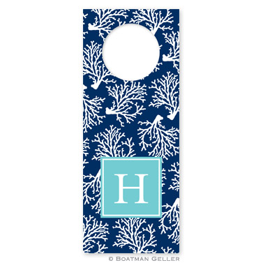 Coral Repeat Navy Wine Tags - qty 8 by Boatman Geller