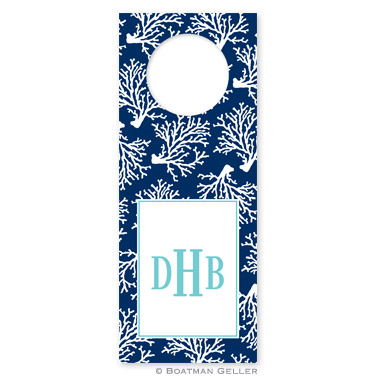Coral Repeat Navy Wine Tags - qty 8