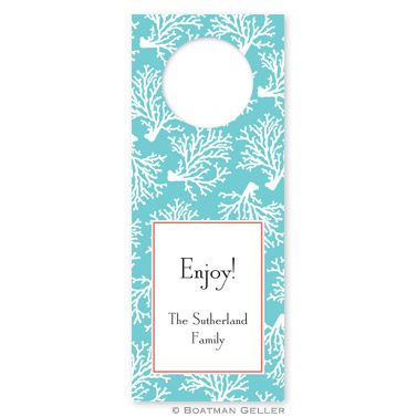 Coral Repeat Teal Wine Tags - qty 8