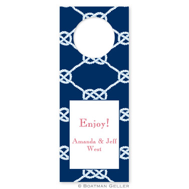 Nautical Knot Navy Wine Tags - qty 8