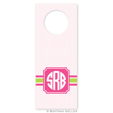 Seersucker Band Pink & Green Wine Tags - qty 8