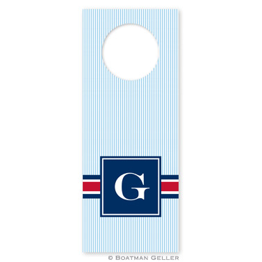 Seersucker Band Red & Navy Wine Tags - qty 8