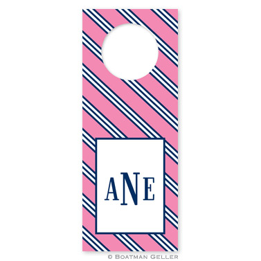 Repp Tie Pink & Navy Wine Tags - qty 8