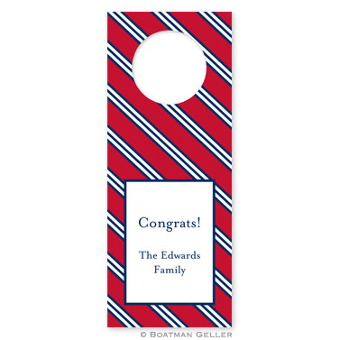 Repp Tie Red & Navy Wine Tags - qty 8