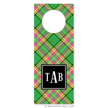 Preppy Plaid Holiday Wine Tag