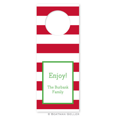 Awning Stripe Red Holiday Wine Tag