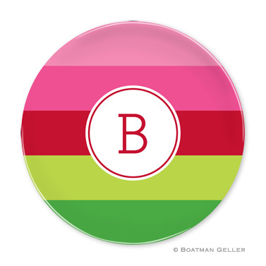 Bold Stripe Pink & Green Holiday Plate