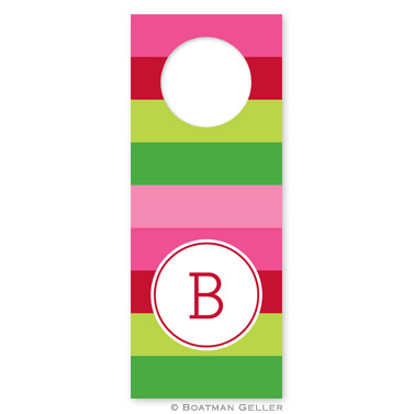 Bold Stripe Pink & Green Holiday Wine Tag