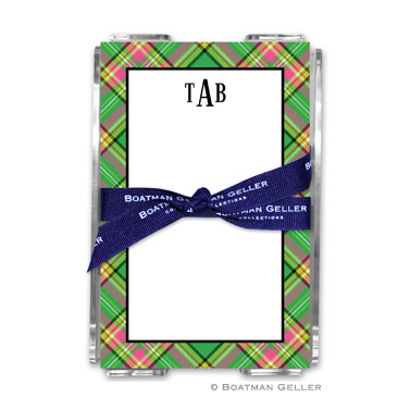 Preppy Plaid Holiday Note Sheet with Acrylic Holder
