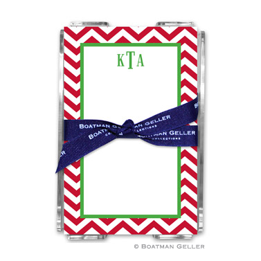 Chevron Red Holiday Note Sheet with Acrylic Holder