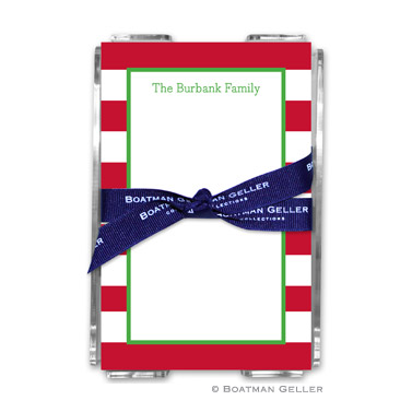 Awning Stripe Red Holiday Note Sheet with Acrylic Holder