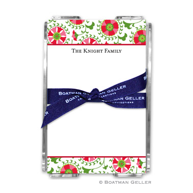 Suzani Holiday Holiday Note Sheet with Acrylic Holder