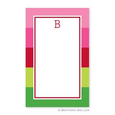Bold Stripe Pink & Green Notepad