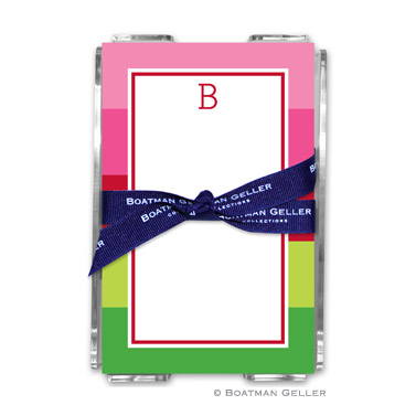 Bold Stripe Pink & Green Holiday Note Sheet with Acrylic Holder