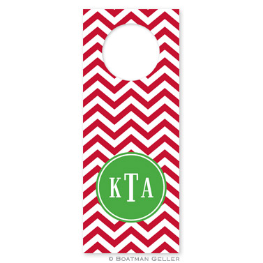 Chevron Red Holiday Wine Tag