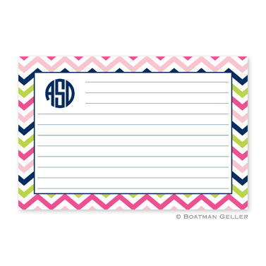 Chevron Pink, Navy & Lime Personalized Recipe Cards