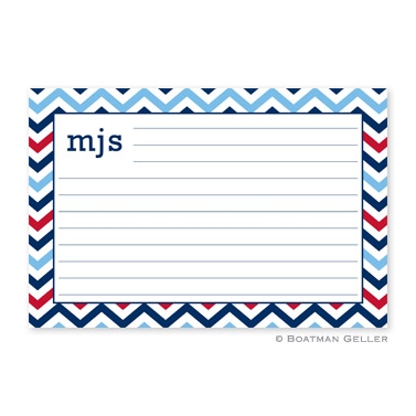 Chevron Blue & Red Personalized Recipe Cards