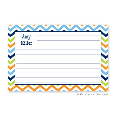 Chevron Blue, Orange & Lime Personalized Recipe Cards