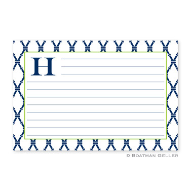 Bamboo Navy & Green Personalized Recipe Cards