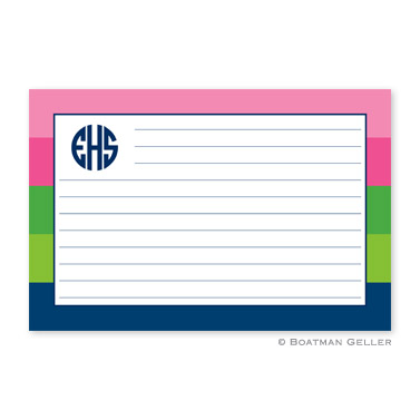 Bold Stripe Pink, Green & Navy Personalized Recipe Cards