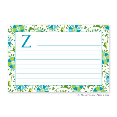 Suzani Teal Personalized Recipe Cards