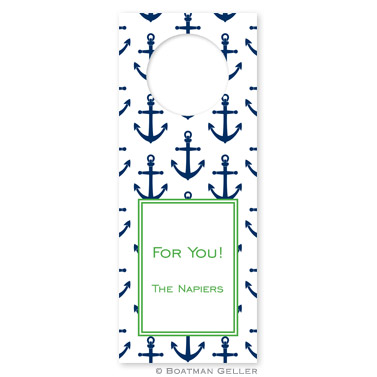 Anchors Navy Wine Tags - qty 8