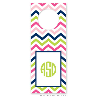 Chevron Pink, Navy & Lime Wine Tags - qty 8