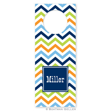Chevron Blue, Orange & Lime Wine Tags - qty 8