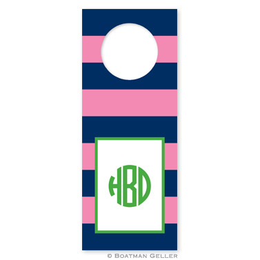 Rugby Navy & Pink Wine Tags - qty 8