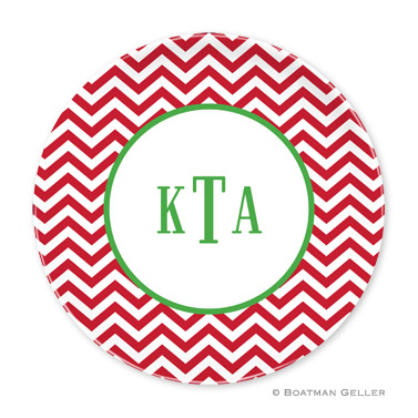 Chevron Red Holiday Plate