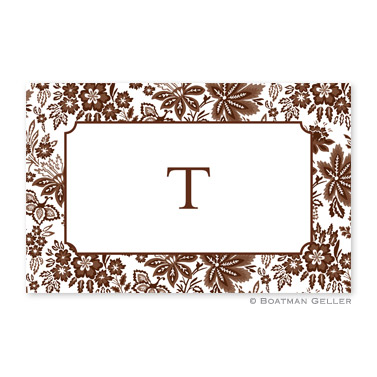 Classic Floral Brown Personalized Placemat