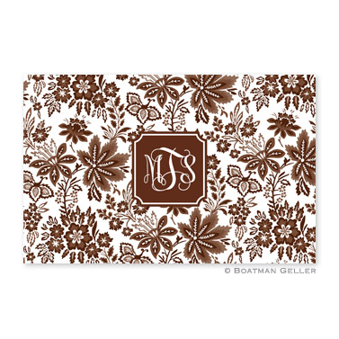 Classic Floral Brown Disposable Placemats