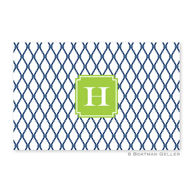 Bamboo Navy & Green Disposable Placemats